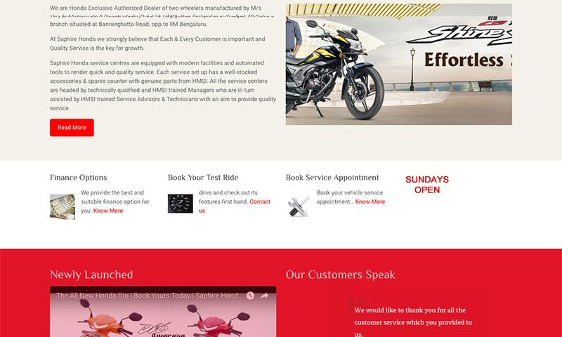 Saphire Honda Website Design